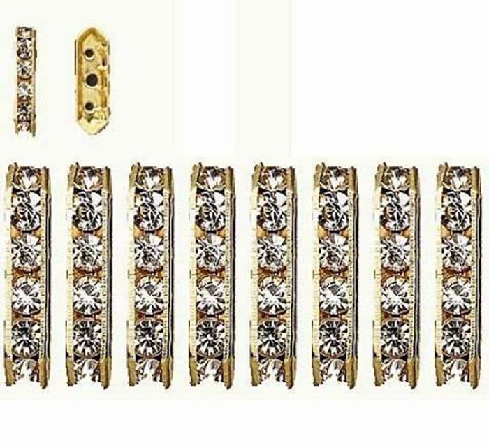 28 Gold-finished Bead 28 Brass and Rhinestone Clear 16x5mm 3-strand Bridge