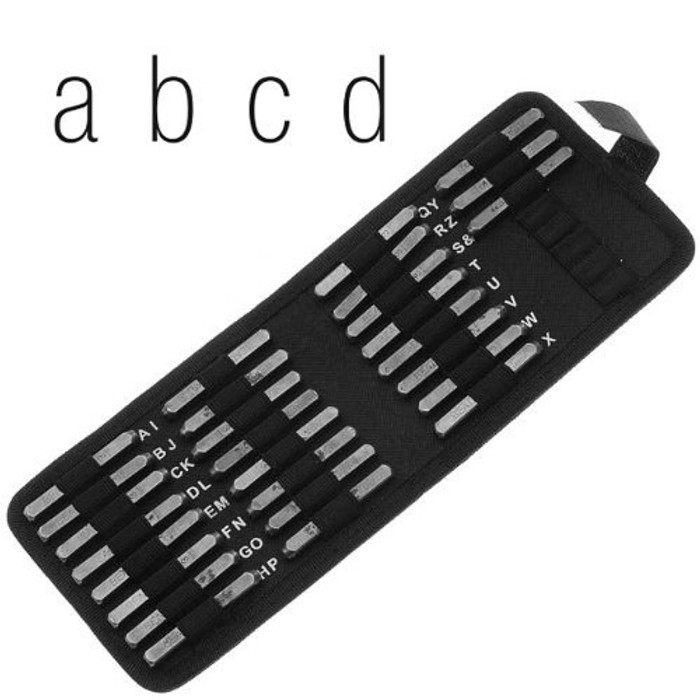 27 Piece Lowercase Gothic Font Alphabet Metal Punch Set - 6mm Characters