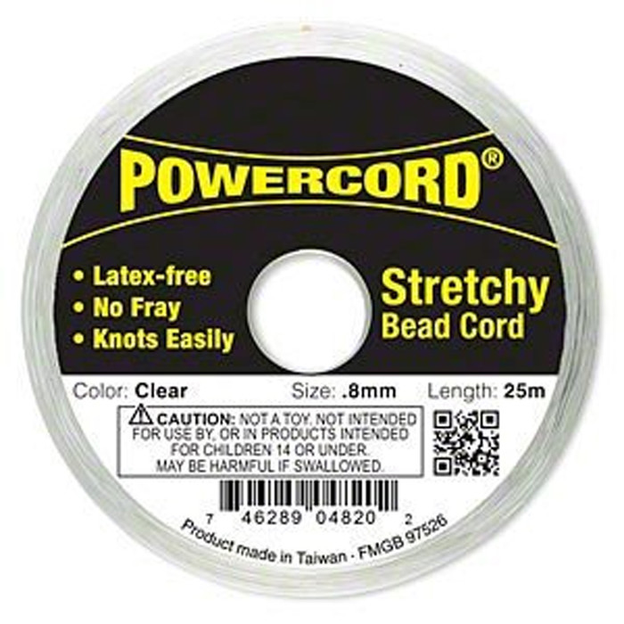 Powercord® Elastic Stretch Cord Clear 0.8mm 8.5 lb Test 25-Meter Latex-Free