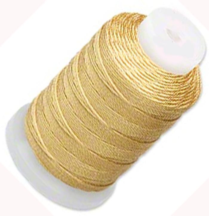 Silk Beading Thread Cord Size E Gold 0.0128 Inch 0.325mm Spool 200 Yd