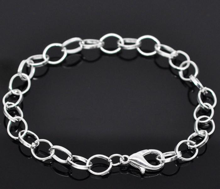 "12 7 3/4"" Shiny Silver Plated Bracelet Chains Lobster Clasp 12 Mix Bracelets"