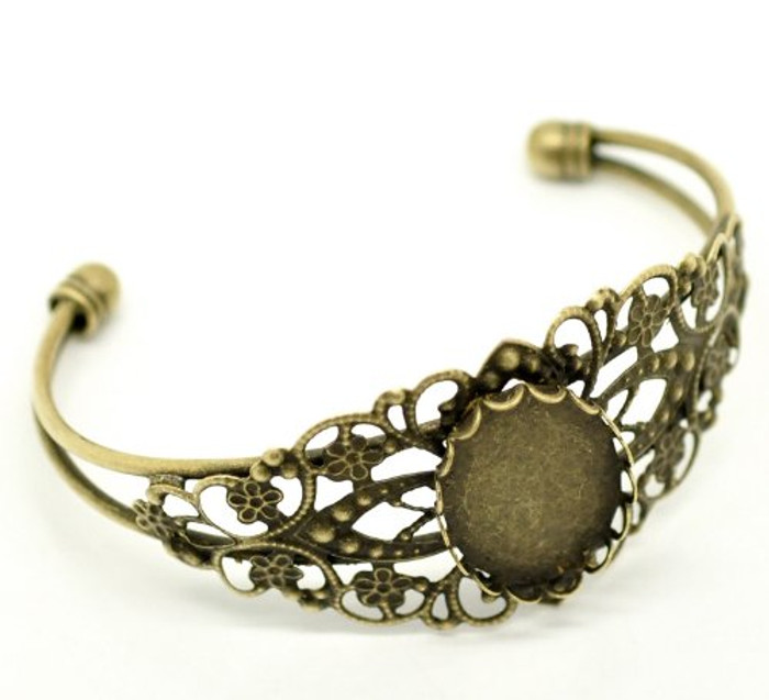 4 Antique Brass/gold Oval Cabochon Cuff Bracelet 21cm Fit 25x18mm