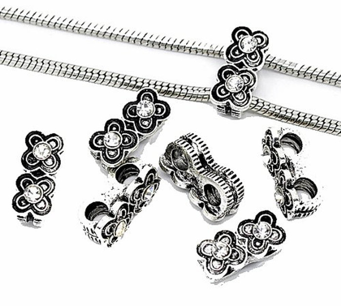 10 Antique Silver Rhinestone Flower Charm 2 Chain Connector Beads. Fits Chamilia 19x10mm 4.5mm Hole