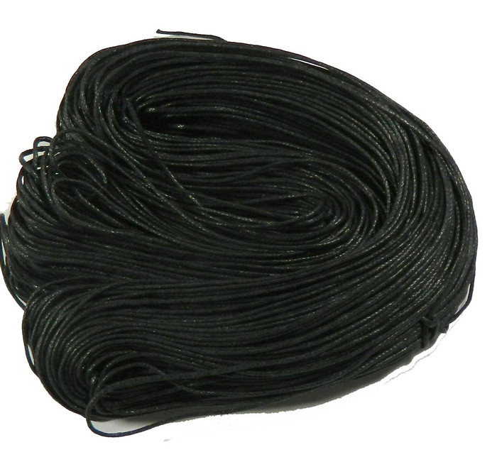 260 Foot 86 Yards Black Waxed Cotton Cord 1mm for Bracelet/ Necklace 80 Meeter