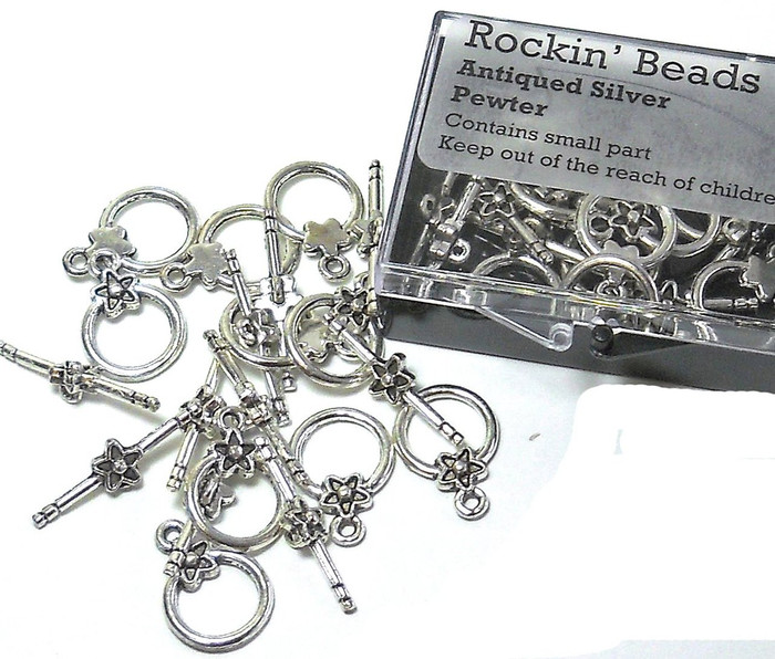 10 Antiqued Silver Pewter Toggle Clasps 14mm Loop 23mm Long Bar Findings