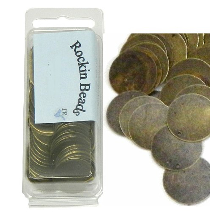 200 Antiqued Brass Plated Alloy Stamping Blanks Tags Round Charm Pendants 20mm 6/8 Inch