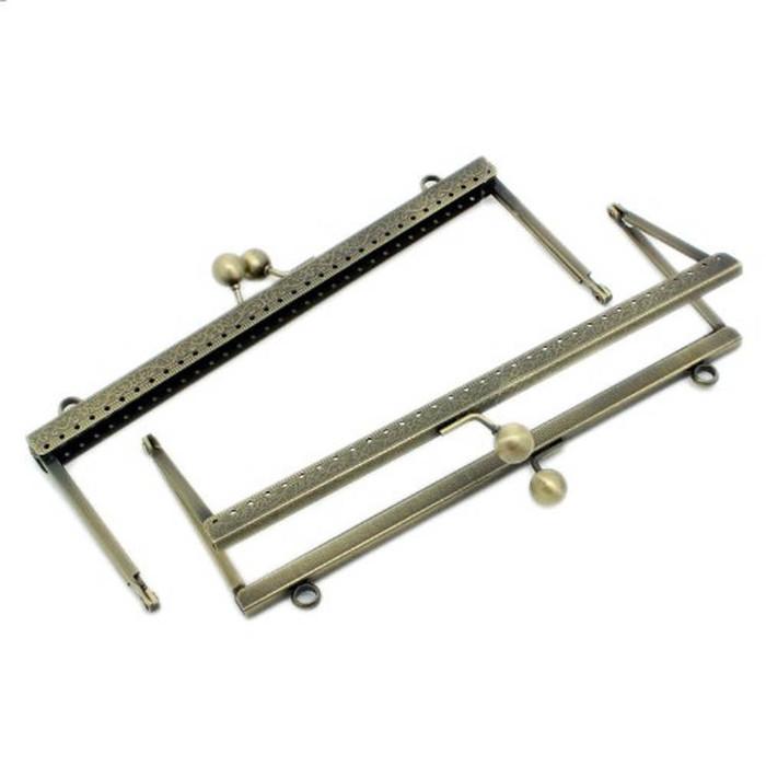 2 Antiqued Brass Purse Frame Metal Bag Kiss Clasp Lock Squared Design 8x3 Inch 2 Pack