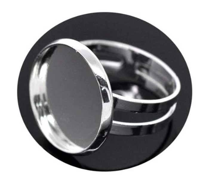 Silver Plated 16 7mm Bezel Cup Ring Settings Adjustable Us 6 75 or Larger Fit 16mm Cabochon Sold Per 20