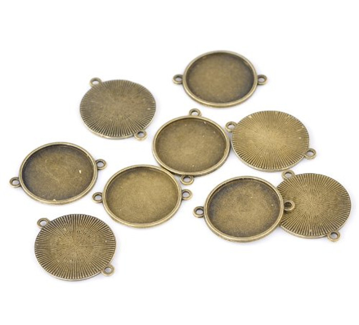 20 Connector Focal Links Round Antique Bronze Cabochon Setting 35x28mm Fit 25mm 20pcs