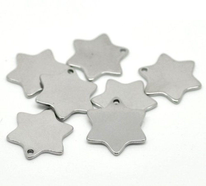 """20 304 Stainless Steel Dye Stamping Engraving Blanks Tags Star 20mmx18mm (6/8""""x 6/8"""")"""