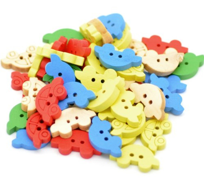 200 Wood Sewing Buttons Scrapbooking Cars 2 Holes Mixed Color 19x11mm 1.18 Inch Dia