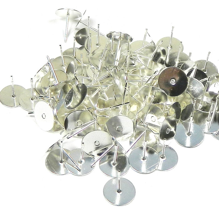 100 Silver-plated Brass 10mm Flat Pad Surgical Steel Post Earring Finding Package of 50 Pair