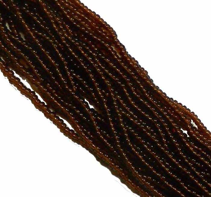 Dark Topaz Transparent Preciosa Czech Glass 6/0 Seed Bead on Loose Strung 6 String Hank
