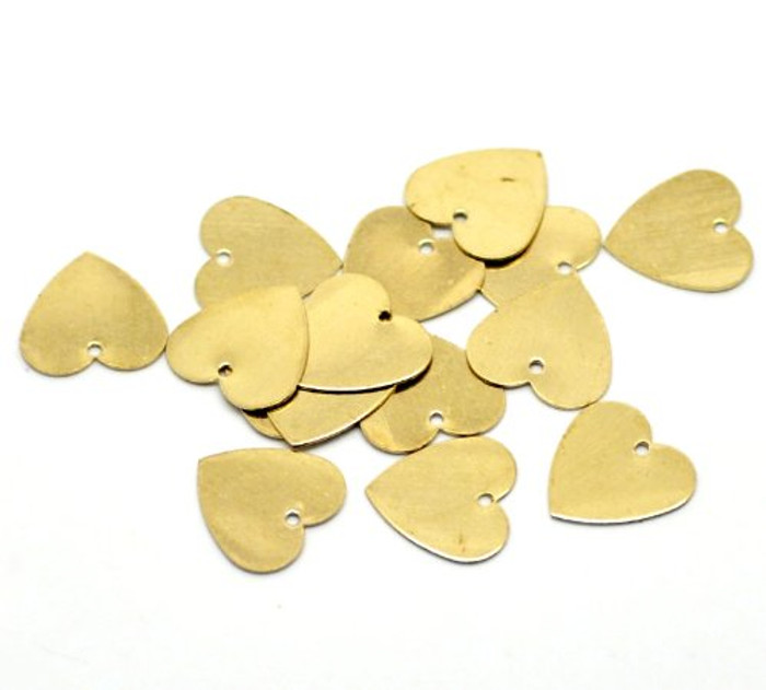 100 Solid Brass Stamping Heart Blanks with Hole Disk Tag Pendants 13mm 1/2 Inch Require Polishing Inch