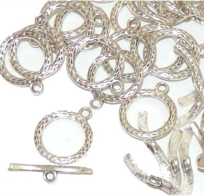 19 Antique Silver 3/4 Inch Toggle Clasps 20mm, Sold Per Pack of 19 Sets