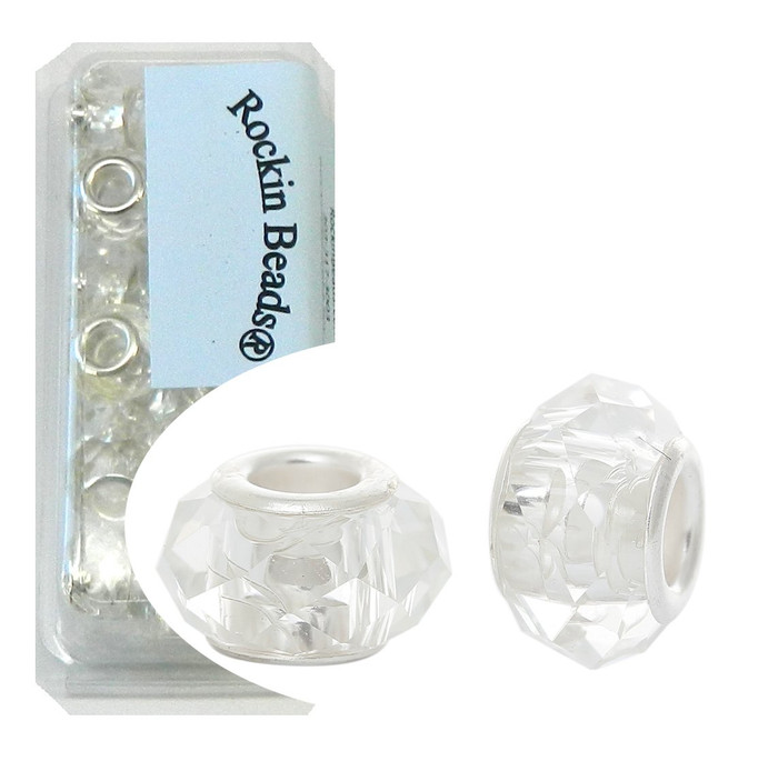 24 Clear Beads Faceted Glass Large 4.5-5mm Hole Silver Plated Compatible with Most European Charm Bracelets