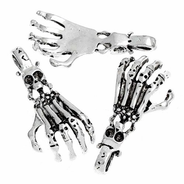 Charm Pendants Skull Hand and Skull Goth Antique Silver (Can Hold Ss9 Rhinestone) 1-3/8 Inch 20pcs
