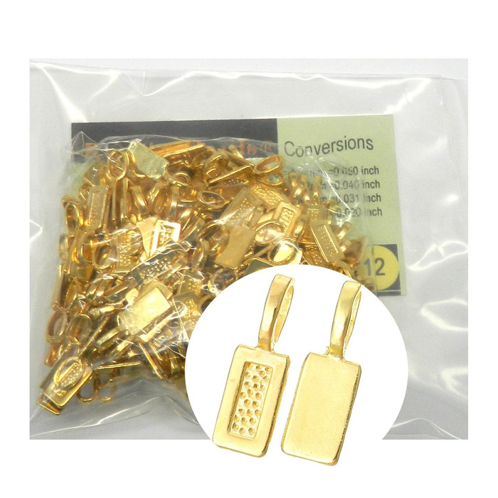 200 Glue on Bails Pendant Hanger Shiny Gold Plated 21x7mm