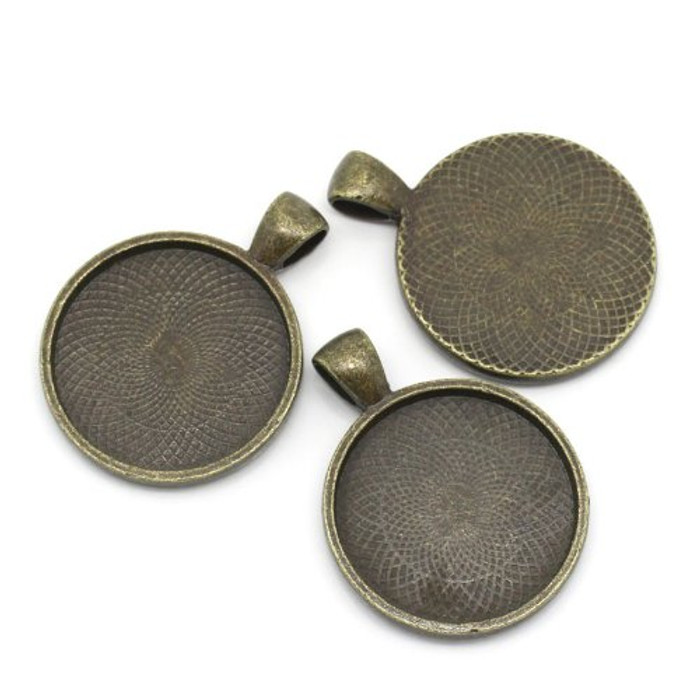 10 Antiqued Brass Plated Cabochon Setting Bezel Cup 28mm Outside 25mm Inside Cup Sold Per 10