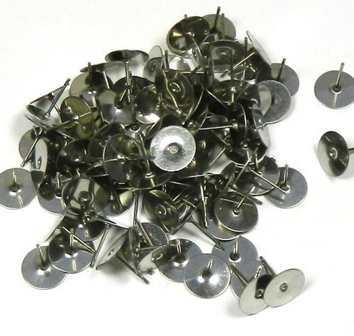 400 8mm Flat Pad Basic 12mm Post Earring Finding Package of 200 Pair (Plus Bonus Rubber Earnuts)