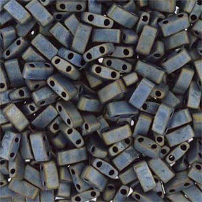 Metallic Silver Grey Matte Half Tila Beads 7.2 Gram Miuki Square 5mm 2 hole