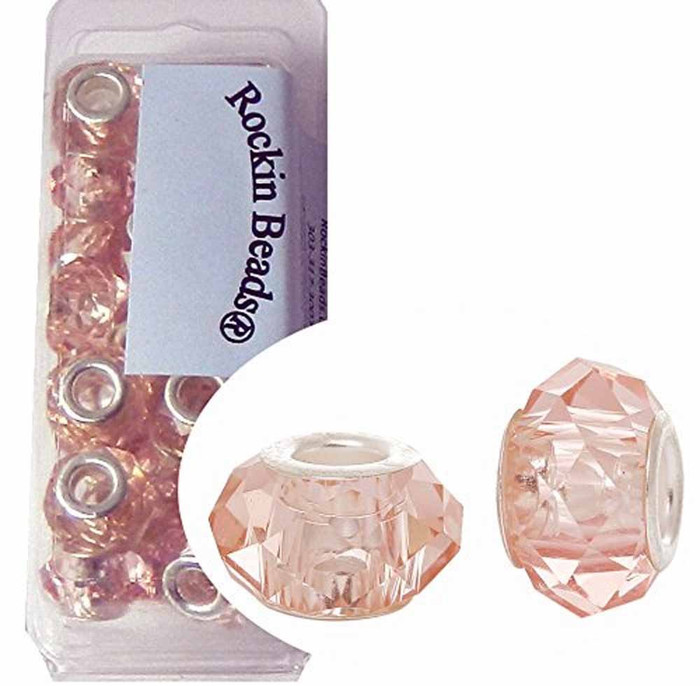 24 Pale Pink Beads Faceted Glass Large 4.5-5mm Hole