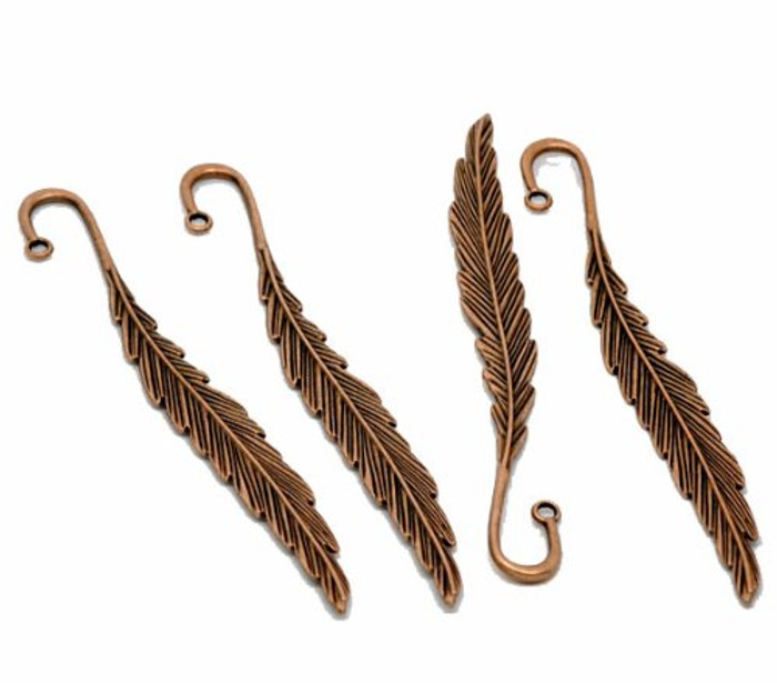 5 Beading Bookmarks Feather Antique Copper 4 1/2 Inch 2.8mm Hole
