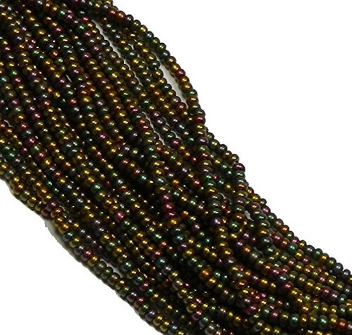 Dark Bronze Iris Metallic Preciosa Czech Glass 6/0 Seed Bead on Loose Strung 6 String Hank