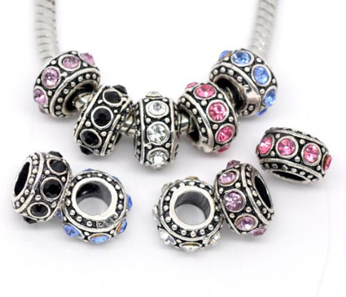 10 Antique Silver Rhinestone Spacer Beads Fit European Bracelet 11mm 10pc
