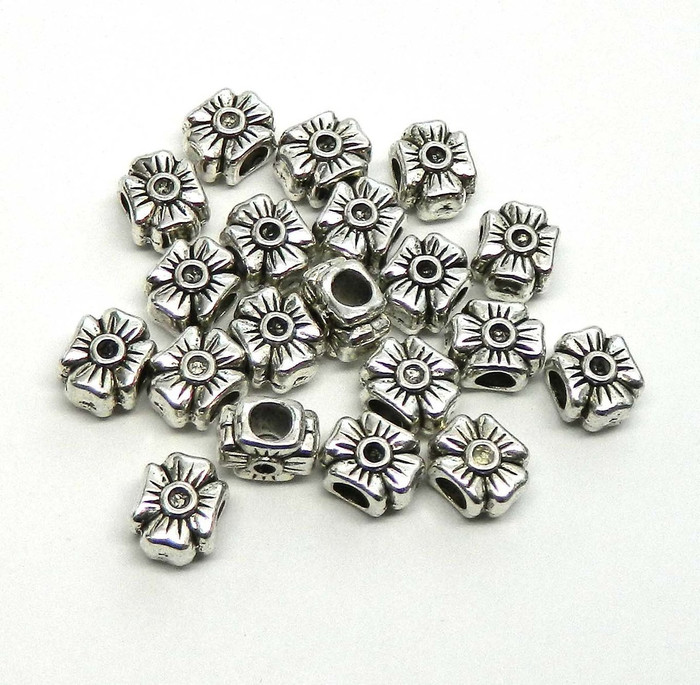 19 Flower Charm Beads 12x18mm with 4.5mm Hole Antique Sliver Metal Zinc