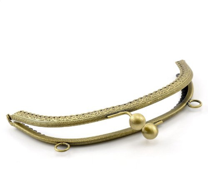 1 Metal Frames Snap Clasp Arch Pattern Style Purse Antiqued Brass 6 Inches By 3-4/8 Inches