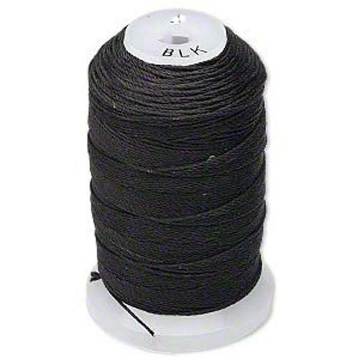 Silk Beading Thread Cord Size E Black 0.0128 Inch 0.325mm Spool 200 Yd