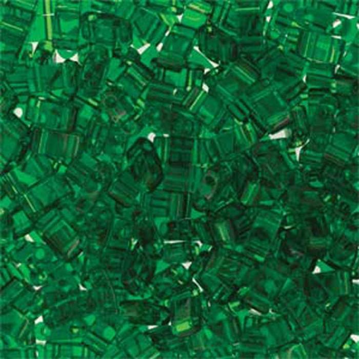 Green Half Tila Beads 7.2 Gram Miuki Square 5mm 2 hole