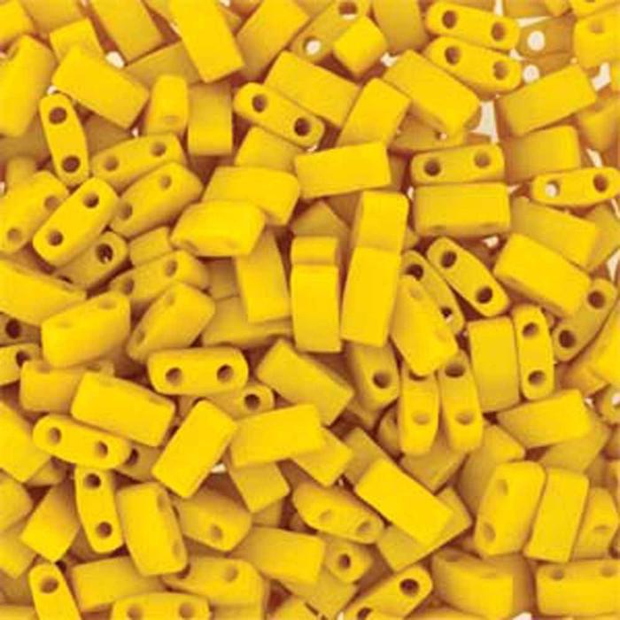Dandalion Yellow Half Tila Beads 7.2 Gram Miuki Square 5mm 2 hole
