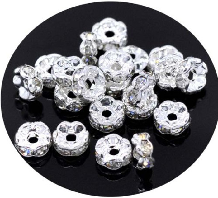 40 Clear Silver Plated Rhinestone 5mm Rondelle Spacer Beads 1mm Hole 40
