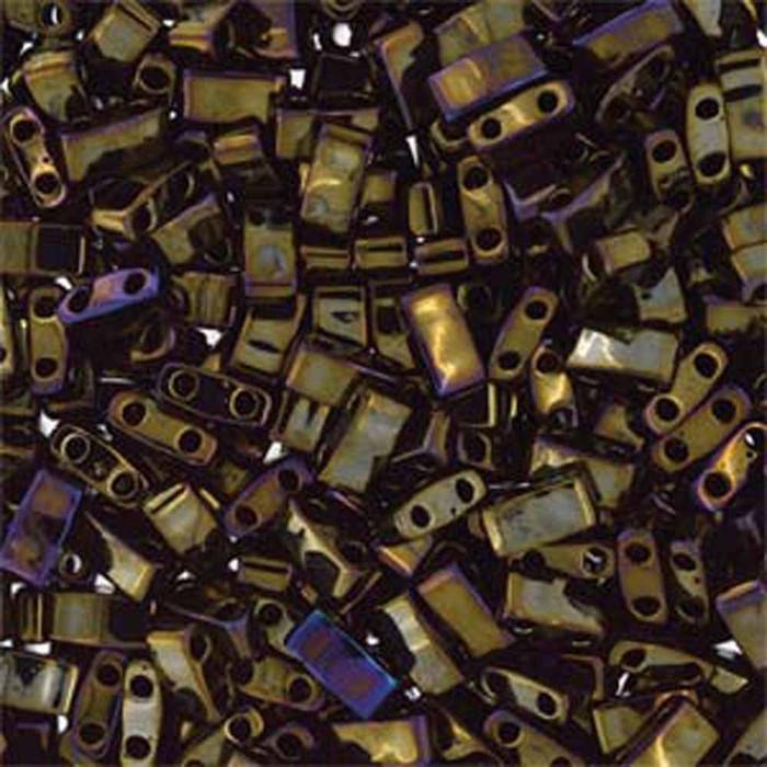Brown Iris Half Tila Beads 7.2 Gram Miuki Square 5mm 2 hole