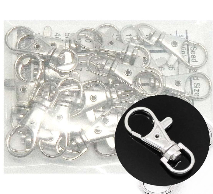 20 Shiny Silver Plated Lobster Claw Swivel Clasps for Key Ring 1 3/8 X 1/2 Inch