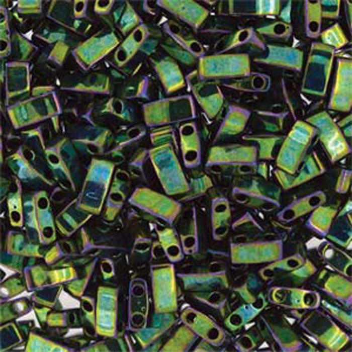 Metallic Green Iris Half Tila Beads 7.2 Gram Miuki Square 5mm 2 hole