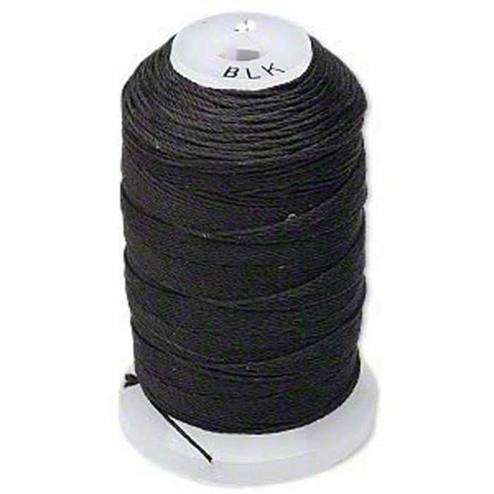 Silk Beading Thread Size C Black 0.0108 Inch 0.27mm Spool 310 Yd