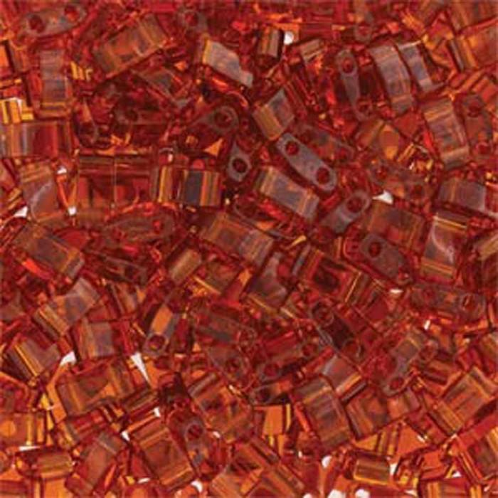 Dark Topaz Half Tila Beads 7.2 Gram Miuki Square 5mm 2 hole