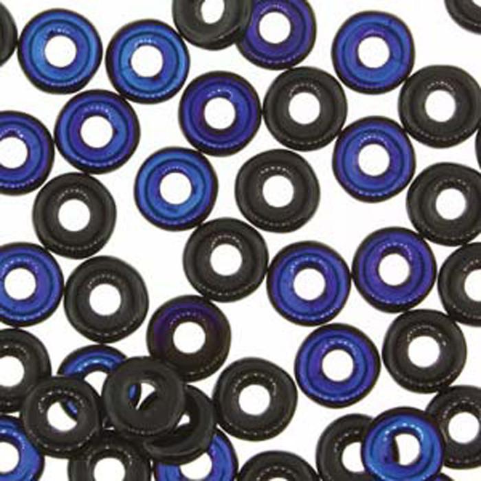 Jet Azuro O-beads 3.8x1mm Czech Glass Mini Flat Ring 8 gram