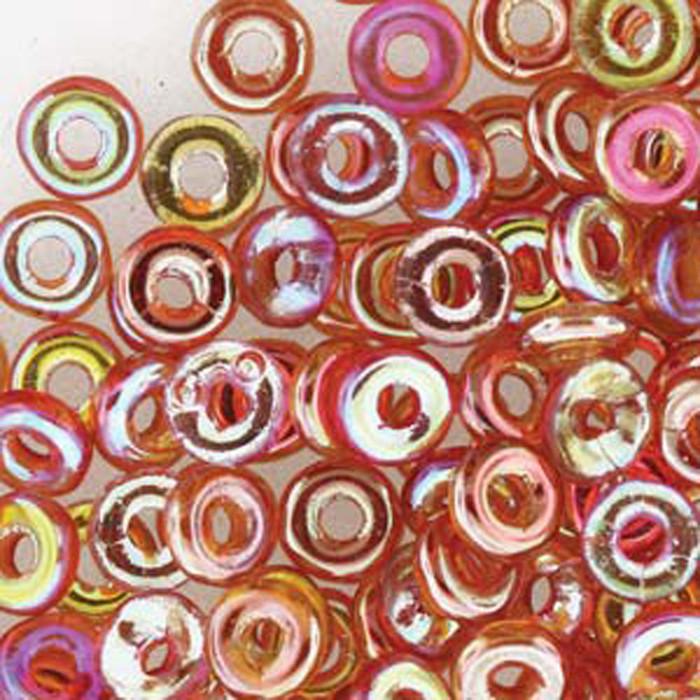 Crystal Orange Rainbow O-beads 3.8x1mm Czech Glass Mini Flat Ring 8 gram