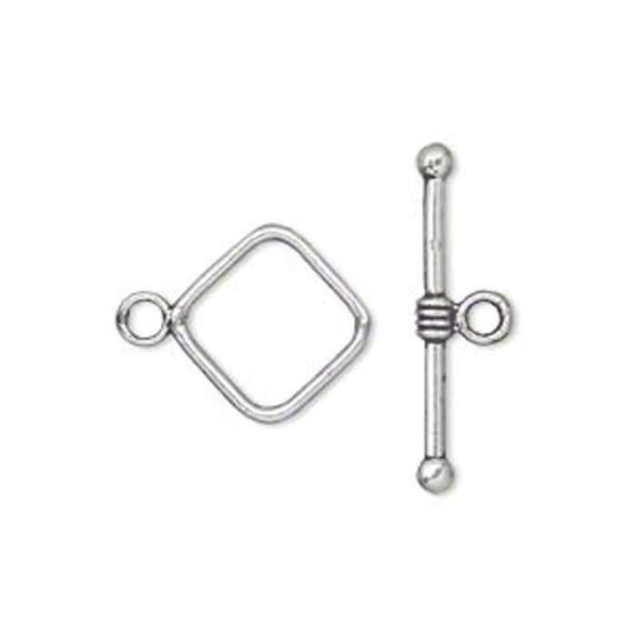 19 Antiqued Silver Pewter Toggle Clasps Square 14mm Loop 22mm Long Bar