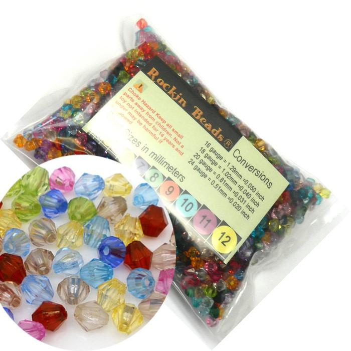 2000 Mixed Acrylic Trasparent Plastic Bi-cone Spacer Beads 6mm Craft Grade