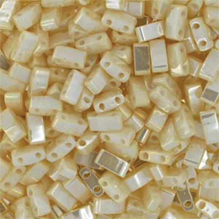 Antique Ivory Pearl Ceylon Half Tila Beads 7.2 Gram Miuki Square 5mm 2 hole