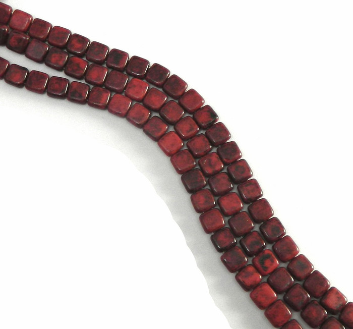 Black Picasso Opaque Coral Red D 6mm Square Glass Czech Two Hole Tile Bead 25 Beads
