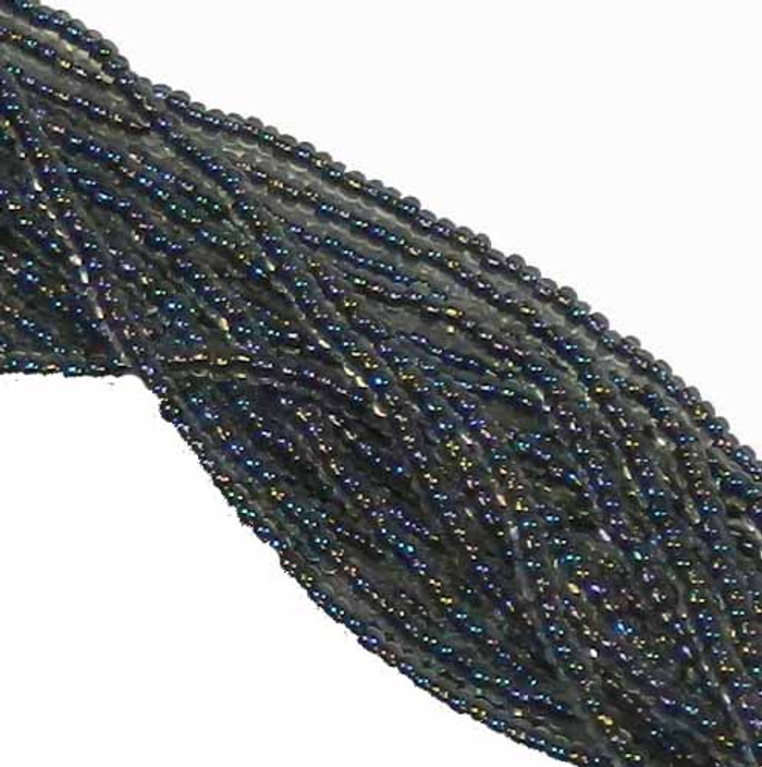 Black Lined Crystal Ab Preciosa Czech Glass 6/0 Seed Bead on Loose Strung 6 String Hank