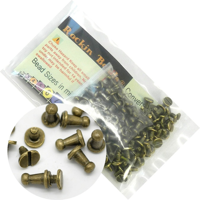48 Sets Antiqued Brass Plated Cone Screw on Spike Rivet Studs 9x6mm Punk Gothic or Leather Work