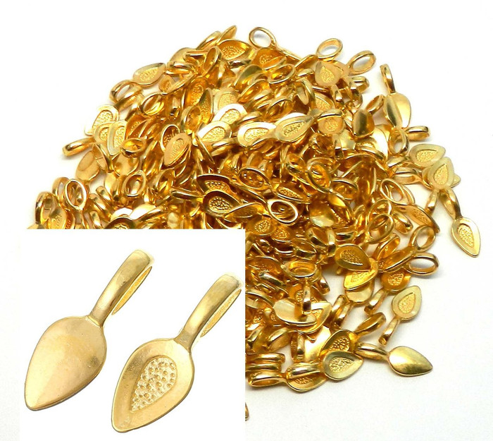 200 Glue on Bails Pendant Hanger Gold Tone Plated 21x8mm