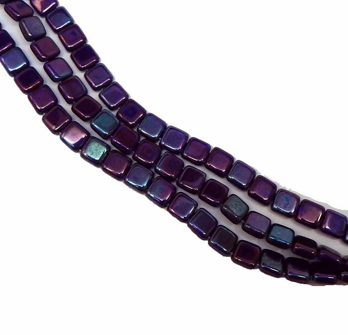 Cobalt Vega 6mm Square Glass Czech Two Hole Tile Bead 25 Beads